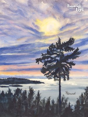 Watercolour painting of a tall tree standing above the rest with a view over the Salish Sea in Sechelt, British Columbia