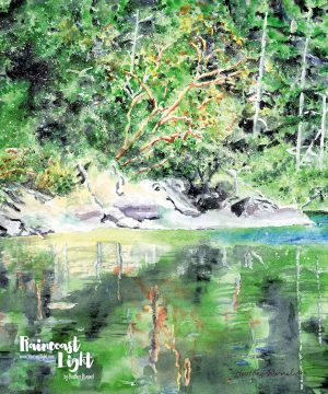 Watercolour painting of arbutues trees across a shimmering pond