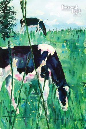 Watercolour painting of cows grazing in a field