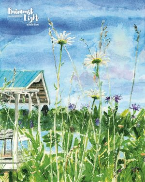 Watercolour painting of daisies with a dock in the background
