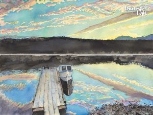 Watercolour painting of a boat moored at a dock with a beautiful sky background