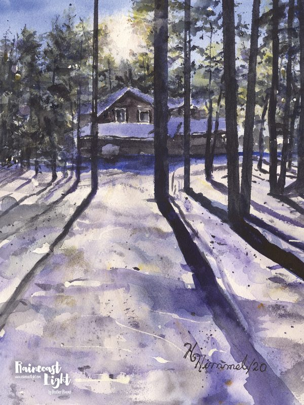 Thumbnail of a snow covered cabin in the woods