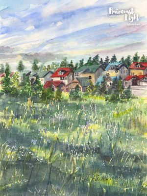 Watercolour painting of a grassy meadow with alpine houses in the background in Kimberley, British Columbia