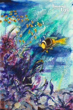 Watercolour painting of a school of yellow fish swimming underwater