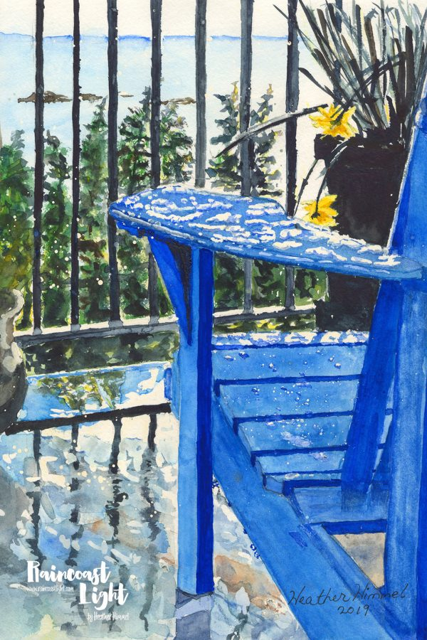 Watercolour painting of an empty adirondack chair looking out over the Salish Sea in Sechelt