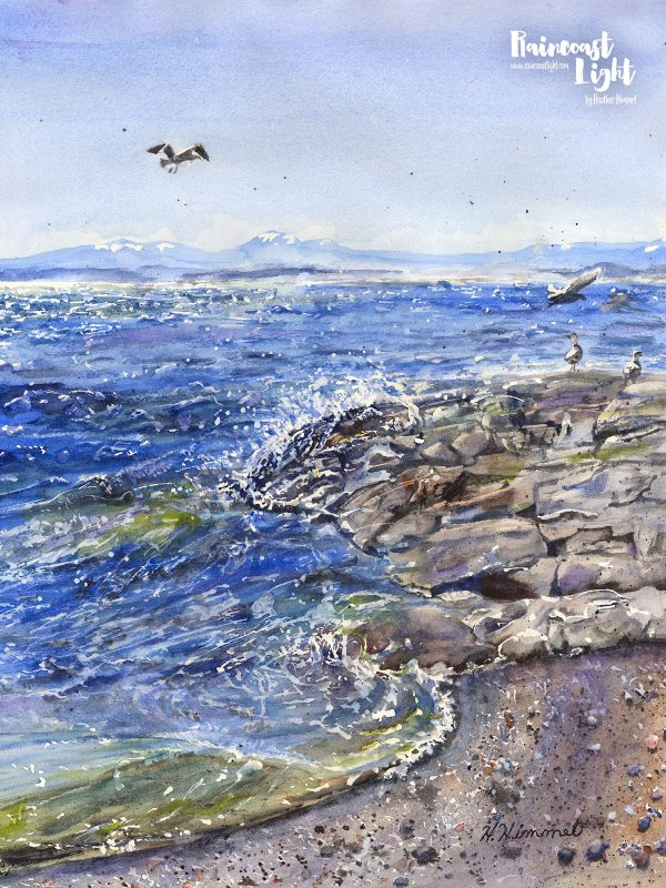 Watercolour painting of a wild ocean scene with waves crashing on rocks and seagulls flying overhead. In the distance snow capped mountains can be seen.