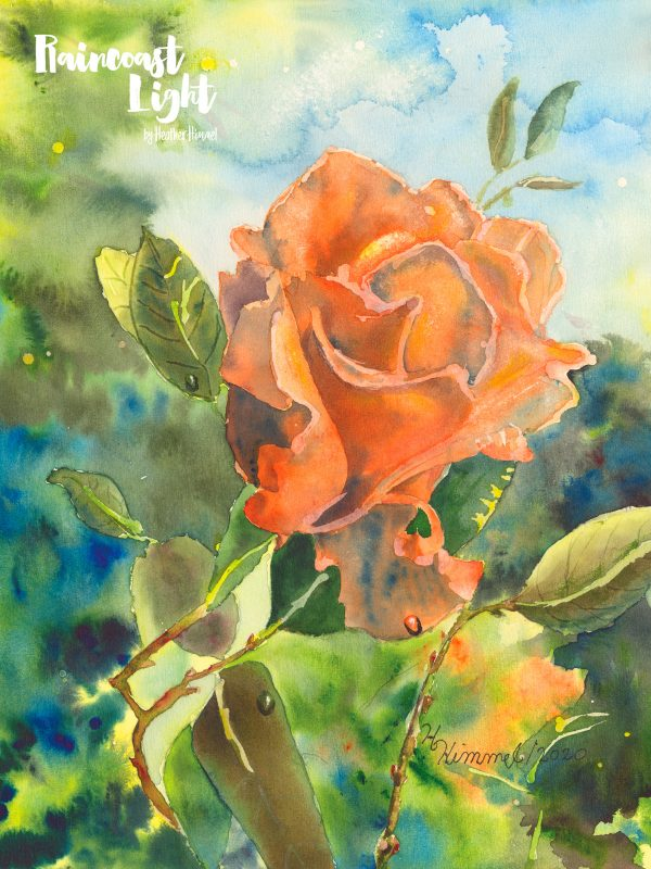 Watercolour painting of a vibrant orange rose