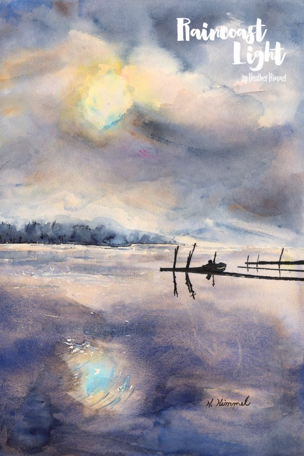 Watercolour painting of a misty waterscape scene