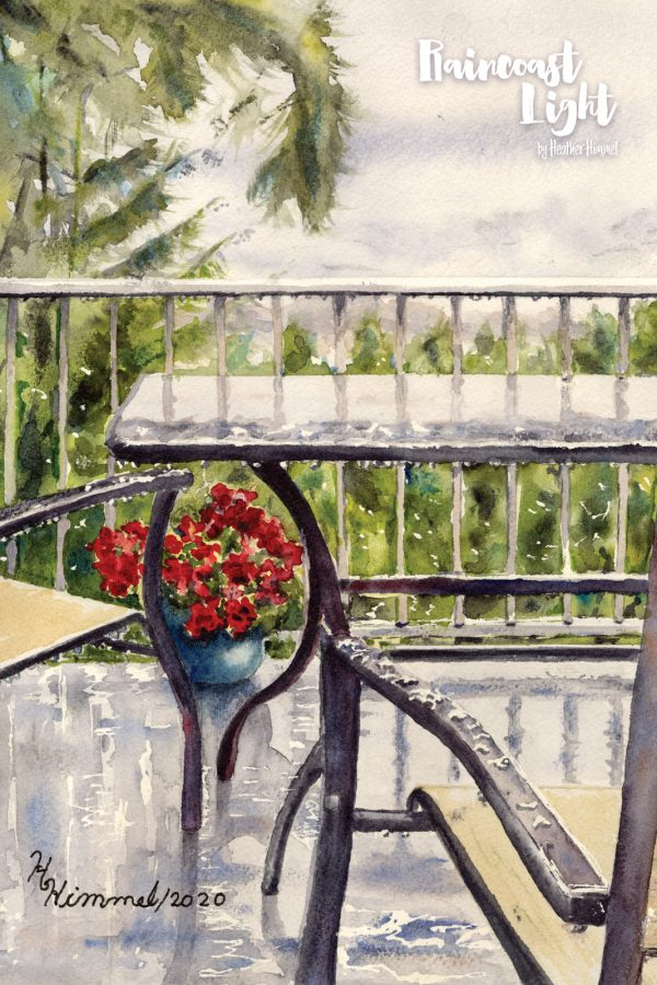 Watercolour painting of deck with a view of trees and flowers and the georgia straight beyond