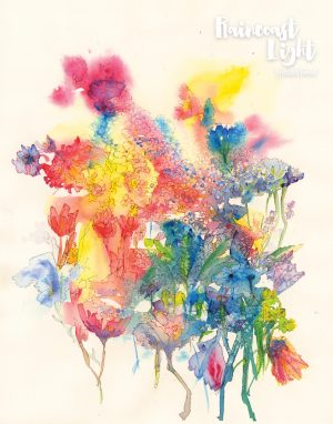 Watercolour painting of a colourful bouquet of flowers