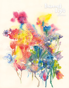 Thumbnail of watercolour painting of a colourful bouquet of flowers