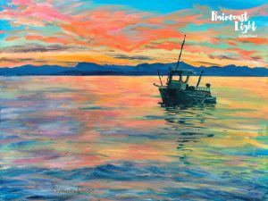 Acrylic painting of a boat floating with a vivid sunset backdrop