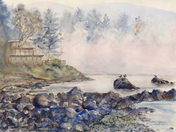 Moody landscape/waterscape watercolour painting