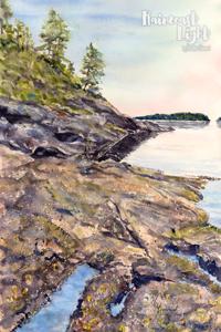 Landscape watercolour of a warm shoreline