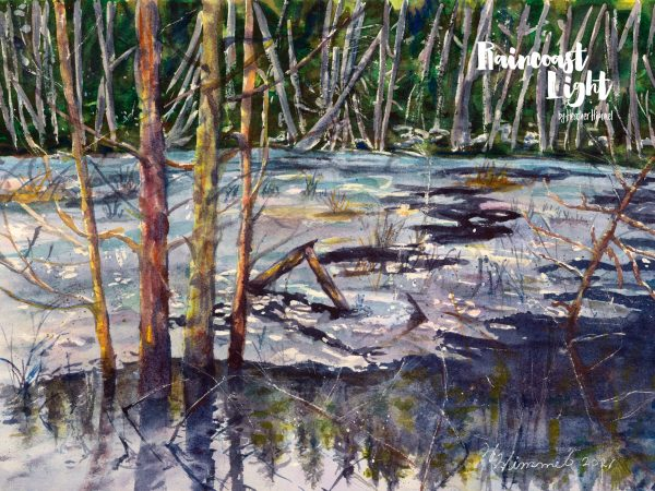 Watercolour painting of an ice covered marsh in Smugglers Cove, British Columbia
