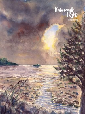 Watercolor waterscape/landscape of the beach and the salish sea (strait of georgia)